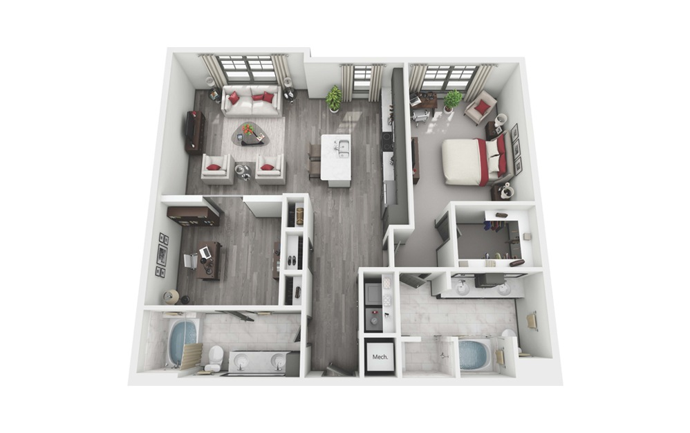 Rutherford - 2 bedroom floorplan layout with 2 baths and 1255 square feet. (Layout 2)