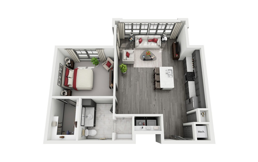 Carlisle - 1 bedroom floorplan layout with 1 bath and 889 square feet.